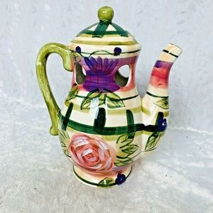 Hand Painted Floral Pitcher Decor Only 4 Holes